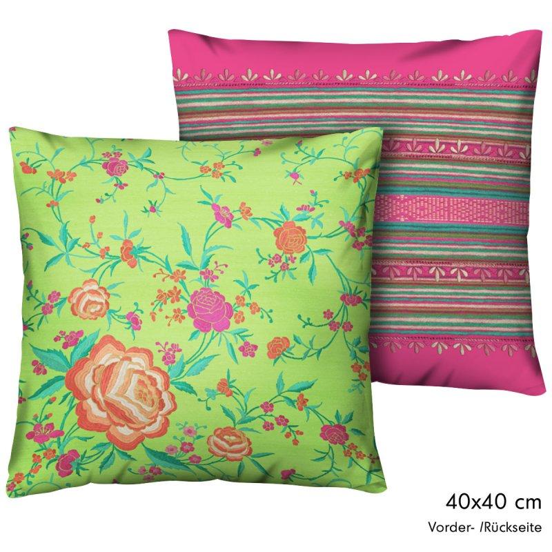 bassetti kissen bezug geflammt dekokissen porticciolo v2 t rkis azur und gr n. Black Bedroom Furniture Sets. Home Design Ideas